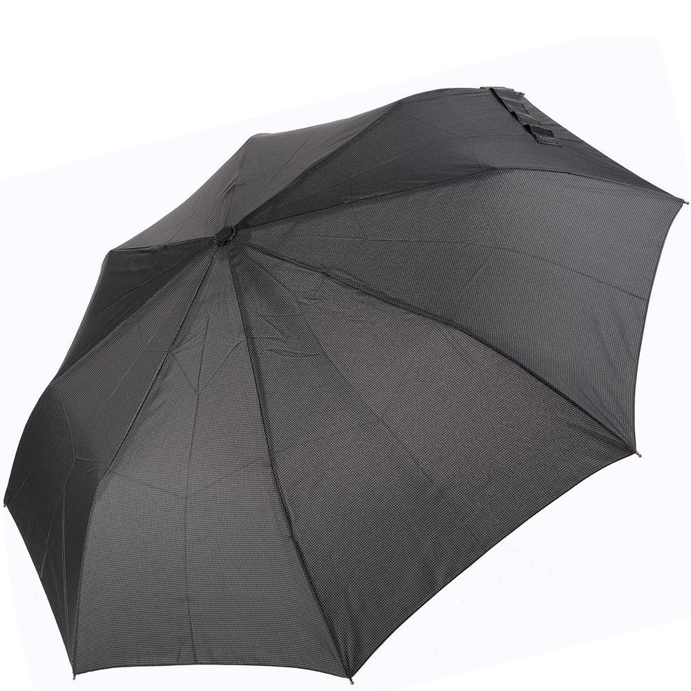 Зонт-полуавтомат Doppler Carbon антиветер в 3 сложения черно-серый в мелкую клетку