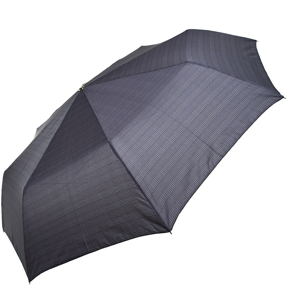 Зонт-полуавтомат Doppler Carbon антиветер в 3 сложения серый в клетку