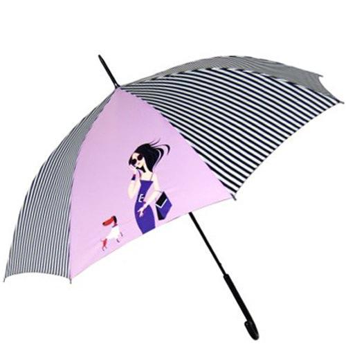 Зонт-трость Doppler Art Collection автоматический полосатый с принтом на розовом фоне