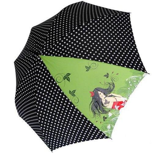 Зонт-трость Doppler Art Collection автоматический в горох с принтом на зеленом фоне