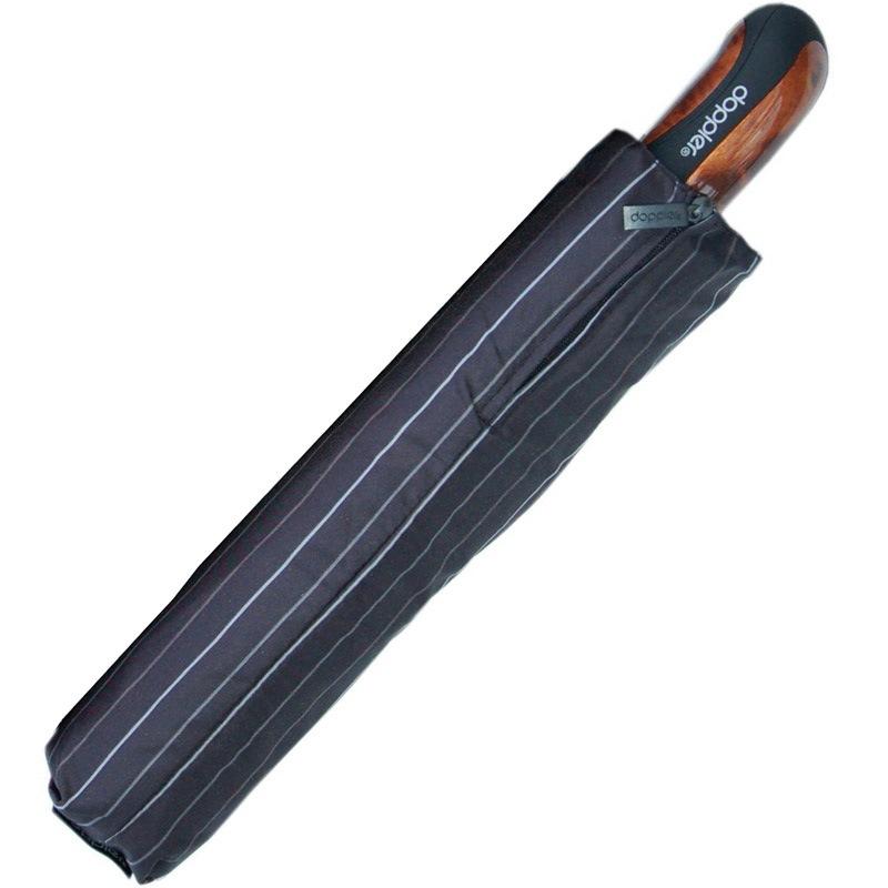 Зонт-автомат Doppler Magik XM Carbon антиветер в белую полоску с ручкой со вставкой под дерево