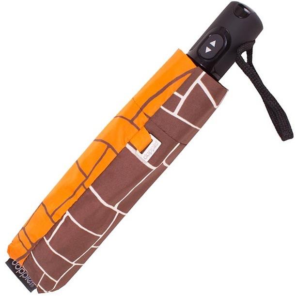 Зонт-полуавтомат Doppler Carbon Steel антиветер в 3 сложения коричнево-оранжевый