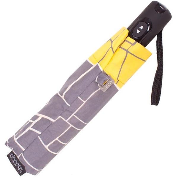 Зонт-полуавтомат Doppler Carbon Steel антиветер в 3 сложения серый с желтыми краями