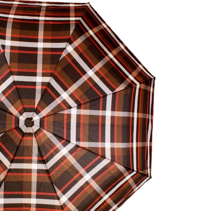 Зонт-полуавтомат Doppler Carbon Steel Сейф антиветер в 3 сложения в коричневую клетку