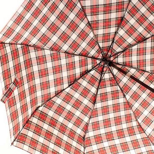 Зонт-полуавтомат Doppler Carbon Steel Сейф антиветер в 3 сложения в бежево-красную клетку