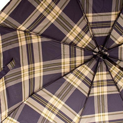 Зонт-полуавтомат Doppler Carbon Steel Сейф антиветер в 3 сложения в серо-кремовую клетку