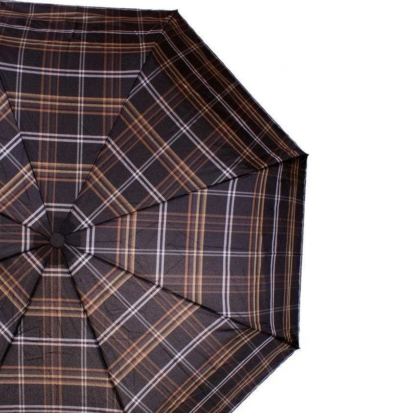 Зонт-полуавтомат Doppler Carbon Steel Сейф антиветер в 3 сложения в серо-коричневую клетку