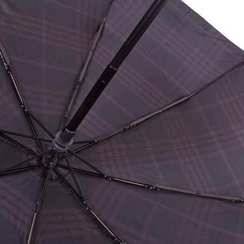 Зонт-автомат Bugatti Carbon Caro антиветер в 3 сложения черный в темно-серую клетку