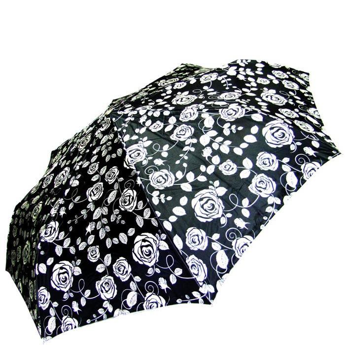 Зонт-автомат Doppler женский модель 74665GFGC черного цвета с узором в виде роз