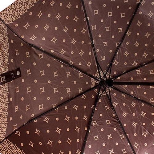 Зонт-автомат Doppler SATIN антиветер в 3 сложения цвета шоколада с карамельным принтом