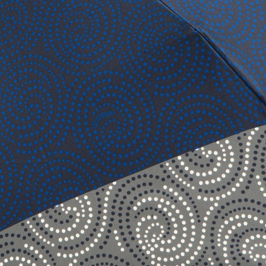 Зонт-автомат Doppler SATIN антиветер в 3 сложения серо-синий с принтом в виде завитушек