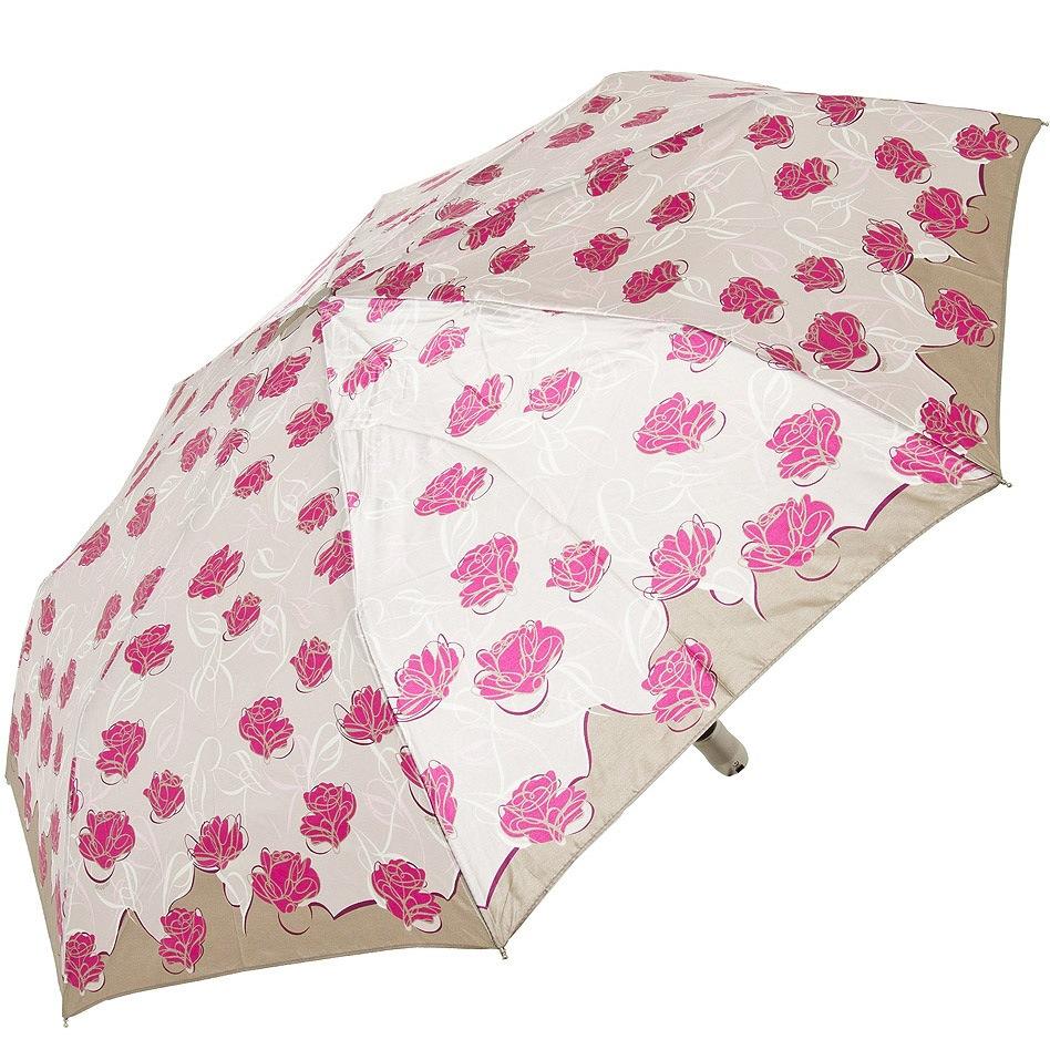 Зонт-полуавтомат Doppler SATIN антиветер в 3 сложения в кремово-розовых тонах с розами