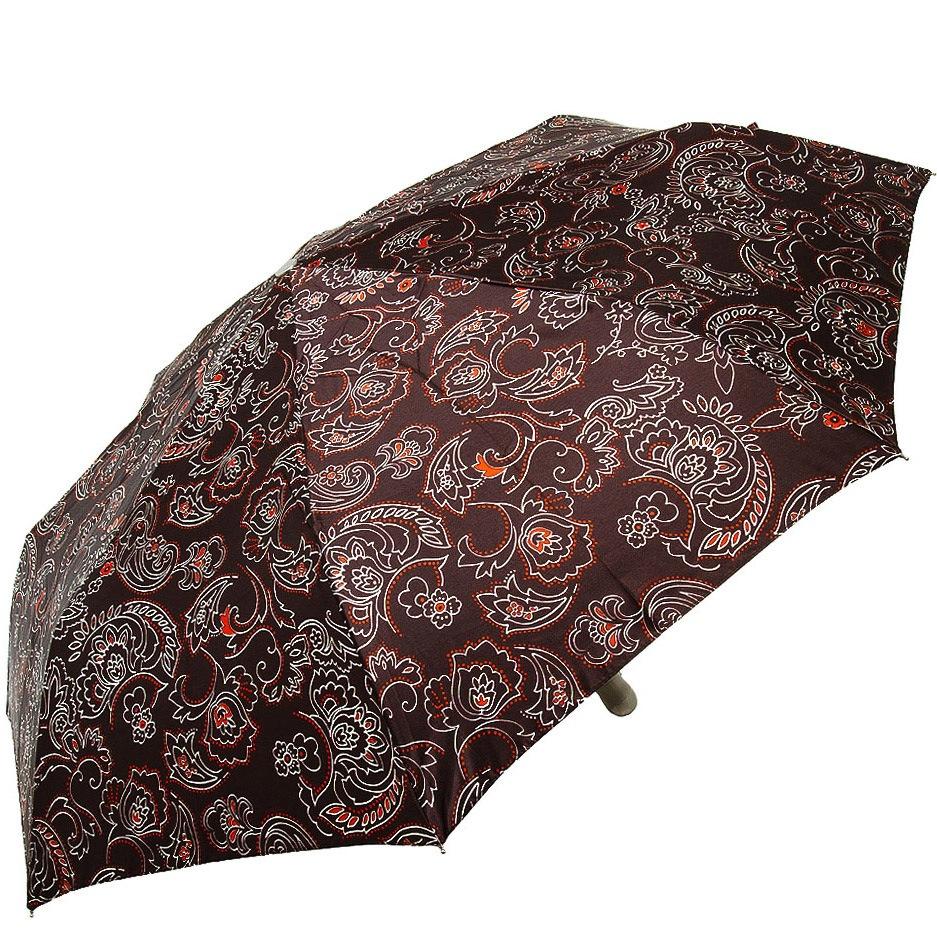 Зонт-полуавтомат Doppler SATIN антиветер в 3 сложения цвета шоколада с роскошным цветочным принтом и пейсли