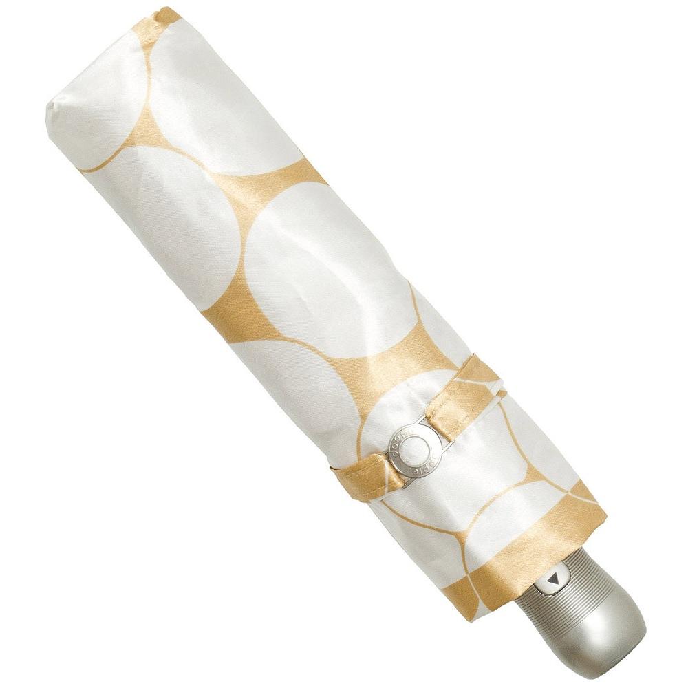 Зонт-полуавтомат Doppler SATIN антиветер в 3 сложения в густой золотисто-кремовый и белый крупный горох