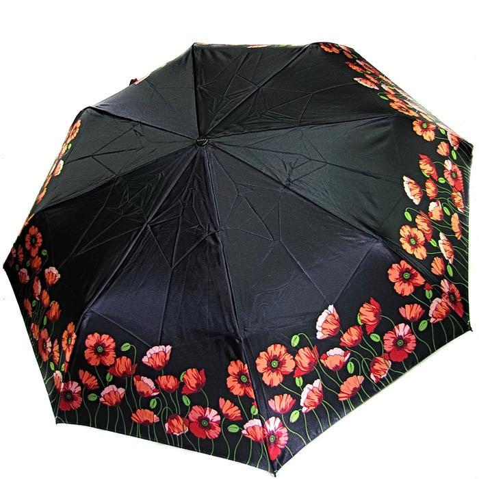 Зонт-автомат Doppler женский модель 74665GFGP черного цвета с красными маками