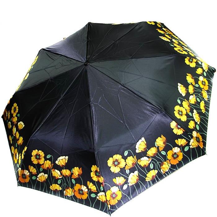 Зонт-автомат Doppler женский модель 74665GFGP черного цвета с желтыми маками
