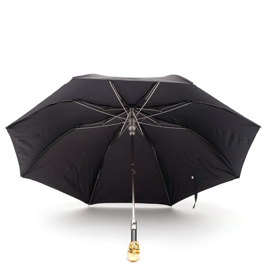 Складной черный зонт Pasotti с золотистым черепом