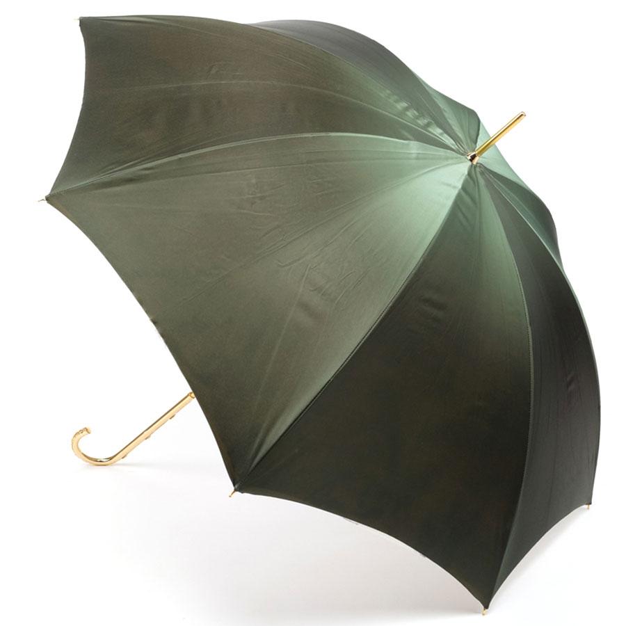Зеленый зонт Pasotti с цветочным принтом внутри