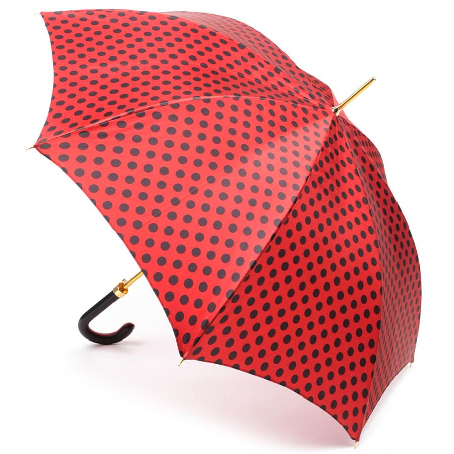 Красный зонт-трость Pasotti в горох