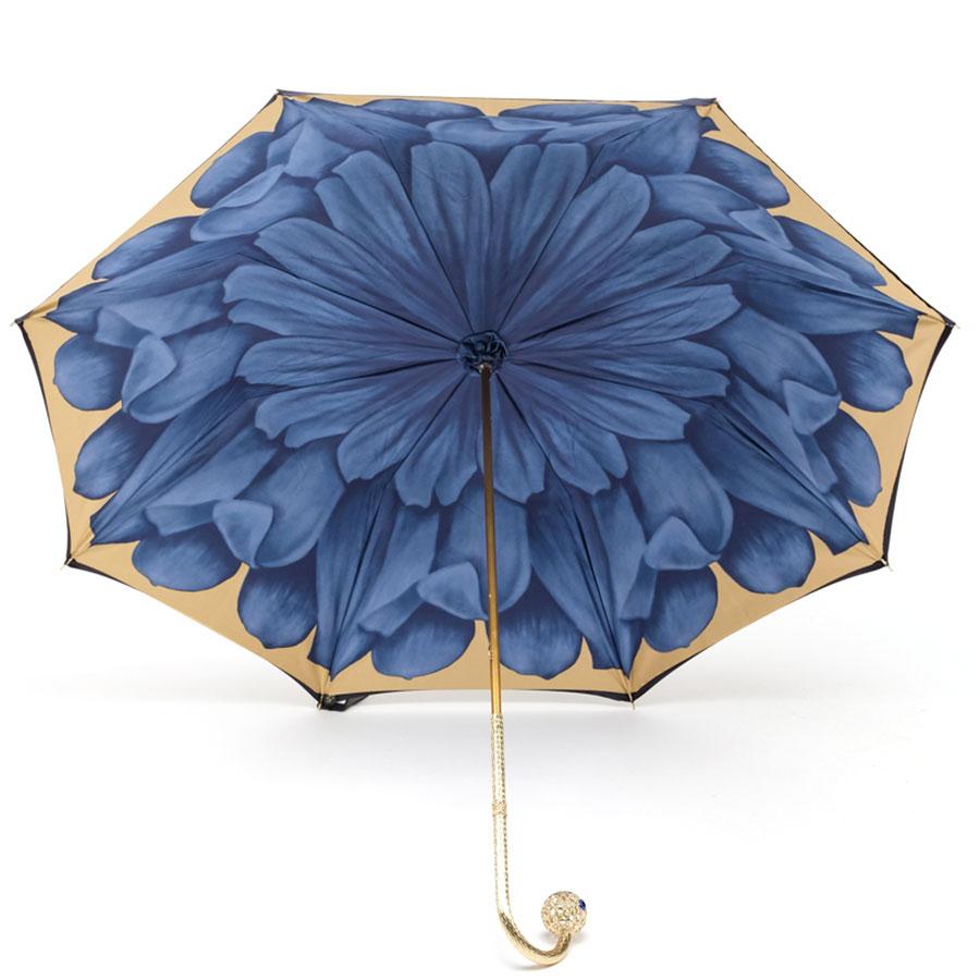 Синий зонт Pasotti с цветком на внутренней стороне