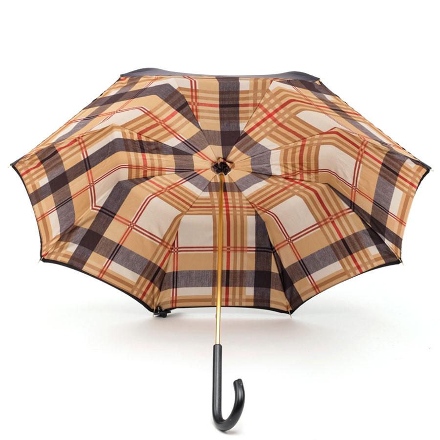 Зонт-трость Pasotti черный внутри в коричневую клетку