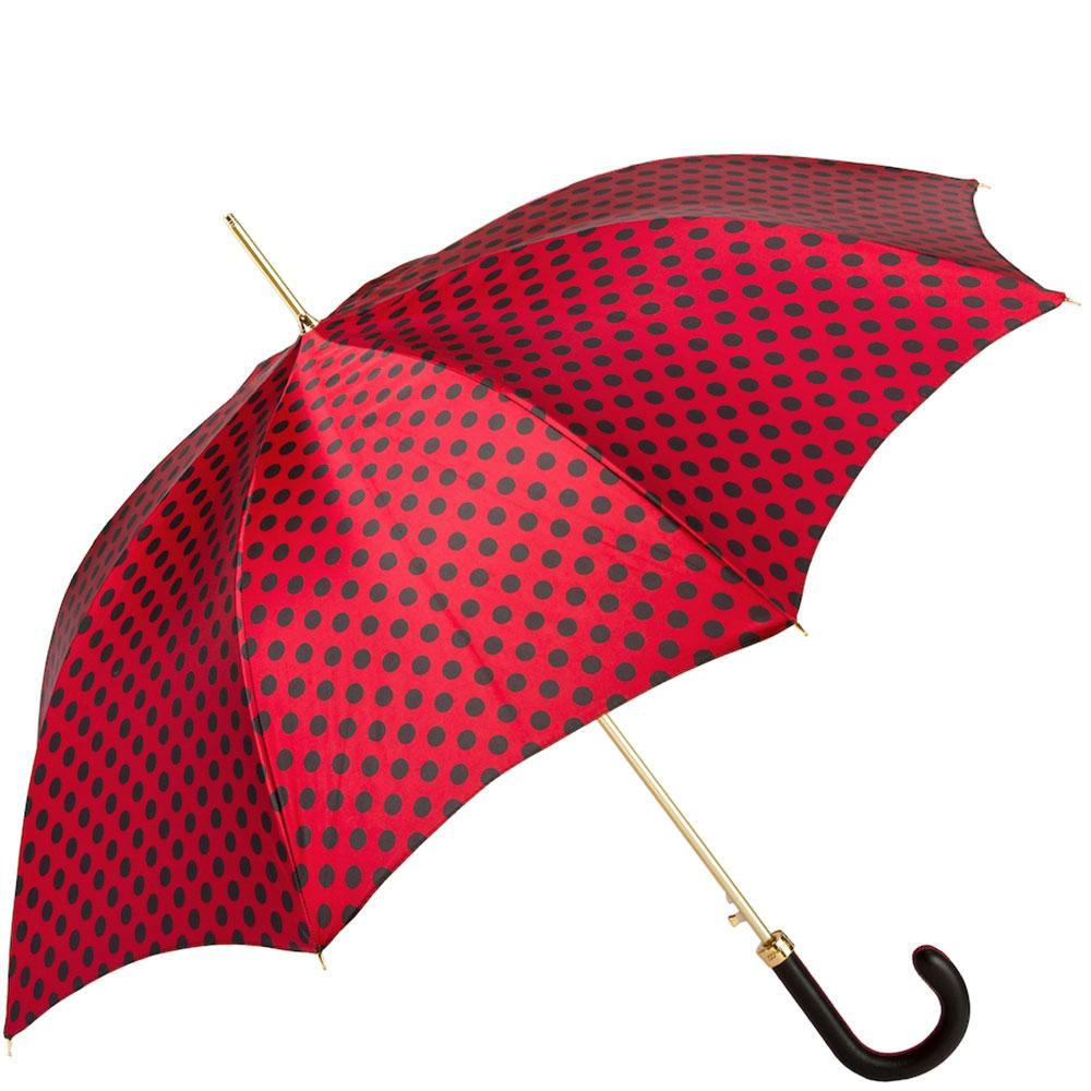 Зонт-трость Pasotti красный в черный горошек