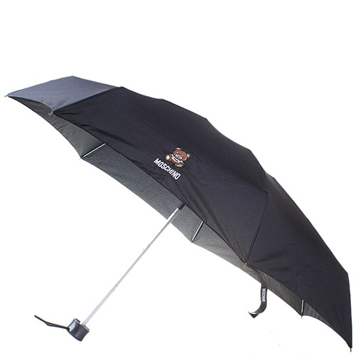 Зонт черного цвета Moschino в подарочной упаковке в виде мишки, фото