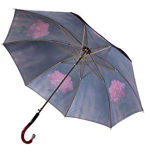 Зонт-трость Baldinini черного цвета с розовыми рисунками цветов с полуавтоматическим механизмом, фото