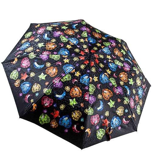 Большой женский зонт черного цвета Baldinini с разноцветным принтом, фото