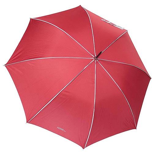 Красный однотонный зонт-трость Ferre с серыми полосками с укрепленным каркасом и куполом, фото
