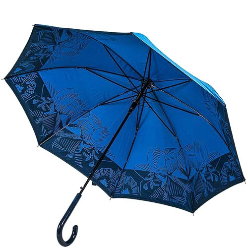 Синий женский зонт-трость Ferre с принтом на внутренней части купола и тефлоновой пропиткой, фото