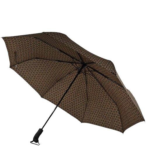 Большой зонт-автомат Ferre коричневого цвета с мелким принтом, фото
