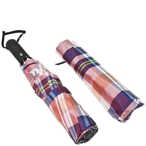 Большой автоматический зонт Ferre в фиолетовую крупную клетку, фото