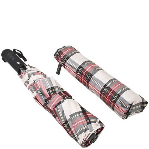 Большой автоматический зонт Ferre в уютную красно-белую клетку, фото