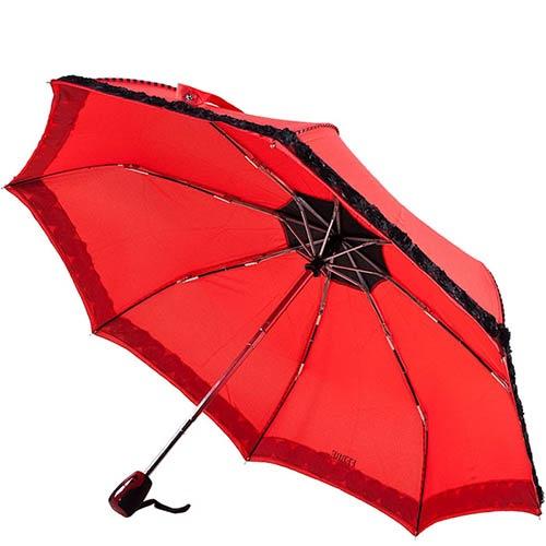 Красный зонт-автомат Ferre с черными рюшами-цветами, фото