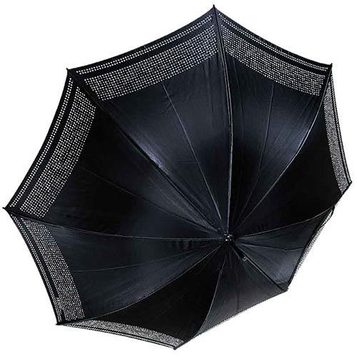 Черный зонт-трость Ferre со стразами и полуавтоматическим механизмом, фото