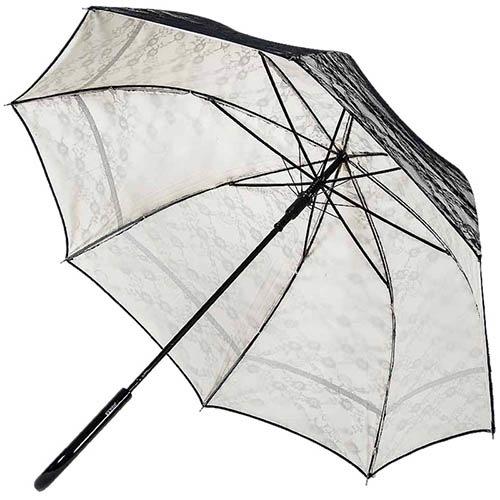 Женственный зонт-трость Ferre с кружевом и полуавтоматическим механизмом, фото