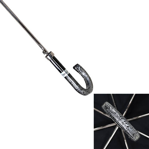 Полуавтоматический зонт-трость Ferre с серебристым переливающимся куполом, фото