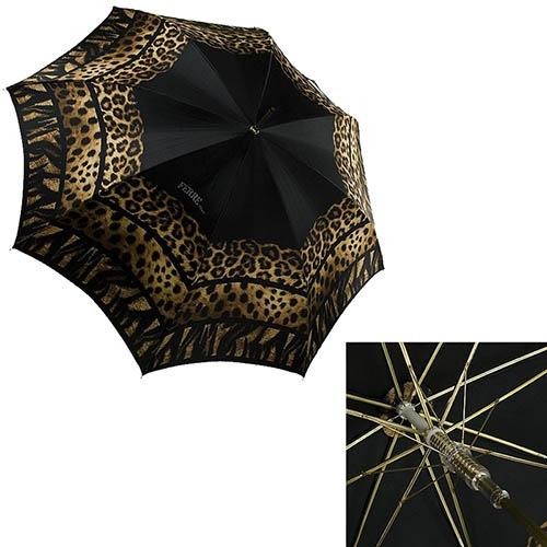 Черный зонт-трость Ferre с анималистичным принтом и полуавтоматическим механизмом, фото