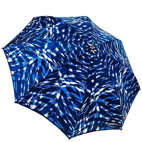 Насыщенный синий зонт-трость Ferre с переливающимся уплотненным куполом и прочным механизмом, фото