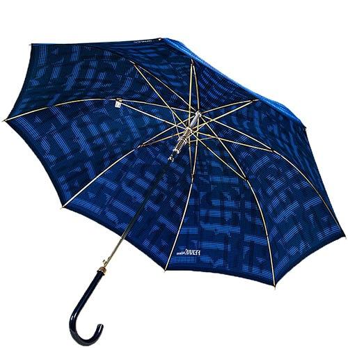 Синий большой зонт-полуавтомат Ferre в форме трости с переливающимся уплотненным куполом, фото