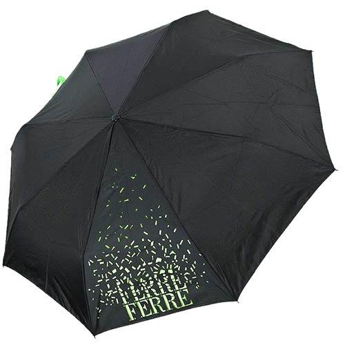 Зонт-трость Ferre черного цвета с брендированным ярко-зеленым принтом, фото