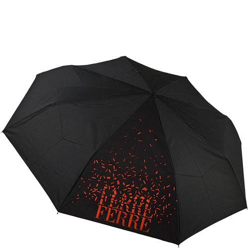 Зонт-трость Ferre черного цвета с брендированным оранжевым принтом, фото