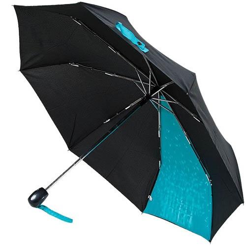 Черный зонт-автомат Ferre с голубым принтом, фото