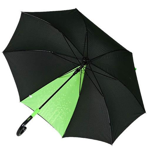 Черный зонт-трость Ferre с ярким зеленым принтом и прочным каркасом, фото