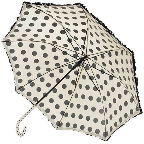 Зонт-трость Ferre в черный горошек с рюшами и прочным каркасом, фото