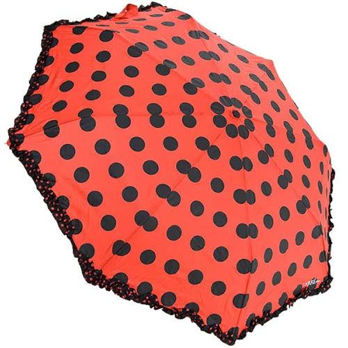 Автоматический красный зонтик Ferre в черный горох, фото