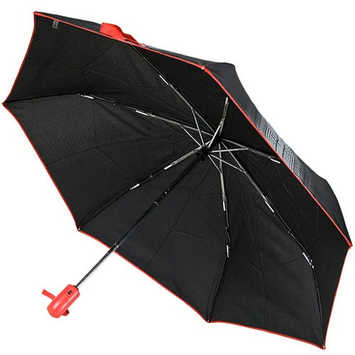 Маленький зонт-автомат Ferre серого цвета с красной каймой и ручкой, фото