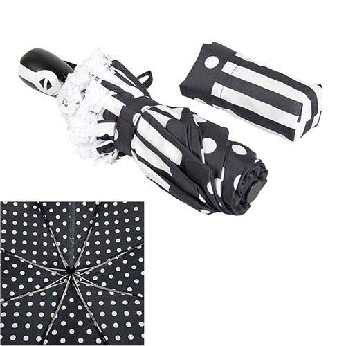 Черно-белый женский зонт Ferre с системой антиветер и автоматическим механизмом, фото