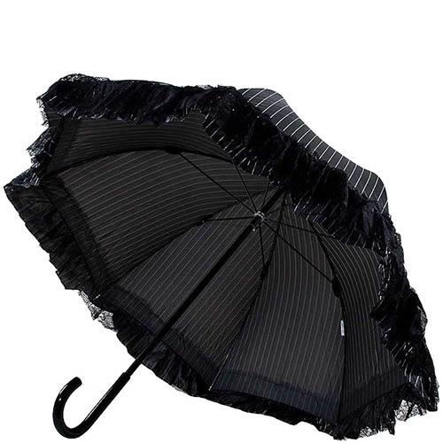 Женственный черный зонт-трость Chantal Thomass в тонкую полоску с рюшами, фото
